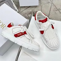 DIOR D letter new shell-toe white shoes with round toe thick bottom fashion all-match sneakers White&Red