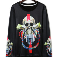 Black Skull Print Fleece Lining Long Sleeve Sweatshirt