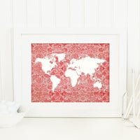 World Map Print, Red, White, Floral, Travel Art Print, Romantic Travel Poster, Shabby, Nursery Decor, Travel Gift for Her, Gift for Quilters