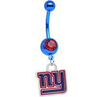 Red Gem Anodized Titanium NY Giants Dangle Belly Button Ring | Body Candy Body Jewelry