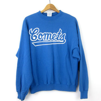 Comets Sweatshirt Athletic Pullover School Sports Sweater Slouchy Blue & White Emblem Sporty Prep Workout Activewear XL