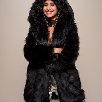 Classic Black Wolf Faux Fur Coat