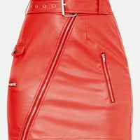 Red Biker Belted Mini Skirt