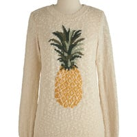 Sugarhill Boutique Fruits Mid-length Long Sleeve Pineapple of My Eye Sweater