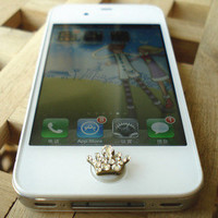 Free Shipping to Everywhere  Swarovski Elements Crystals 3D Crown Pop-Up Peel & Stick Apple iPhone Home Button 3 3G 4 4S iPad 1 2