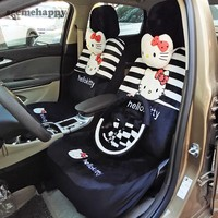 8Color 18pcs Universal Hello Kitty Car Seat Covers Leopard/love/zebra winter cushion faux fur car styling interior Accessories