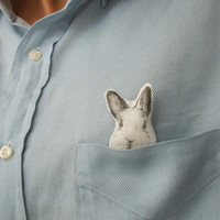 white bunny brooch easter bunny white rabbit hand painted animal brooch woodland forest