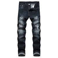 Men's elastic tight-fitting riding hole jeans worn slim