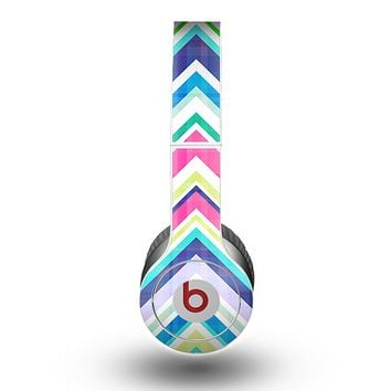 The Vibrant Pink & Blue Layered Chevron Pattern Skin for the Beats by Dre Original Solo-Solo HD Headphones