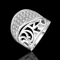 New Women's 925 Sterling Silver Plated knit Ring Clear CZ Rings Size = 1958190020