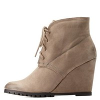 Lace-Up Wedge Booties by Qupid at Charlotte Russe