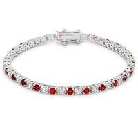 Cassidy Ruby Round Tennis Bracelet – 7in | 10ct