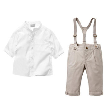 Two Pieces Suspender Trousers Shirt Overalls Baby Toddler Girl Clothing Clothes Bodysuits New Born Cotton Set NW