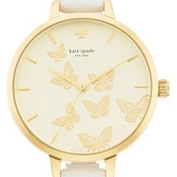 Women's kate spade new york 'metro' butterfly dial leather strap watch, 34mm - White/ Gold