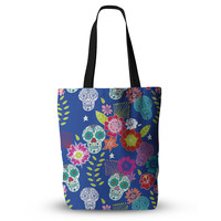 """Anneline Sophia """"Day of the Dead"""" Blue Aztec Everything Tote Bag"""