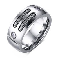 New Fashion Men's Ring Punk Rock Stainless Steel Ring With Wire Cubic Zirconia Party Jewelry Male Gift USA Size 9mm