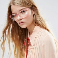 ASOS Geeky Round Clear Lens Glasses in Pink at asos.com