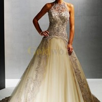 Satin Lace Organdie Wedding Dress - US$222.39 - Goldwo.com