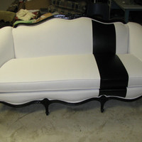 French White and Black Faux Alligator Fabric Sofa Couch - Shown in White Duck Cloth with Black Alligator Stripe - can be ANY FABRIC