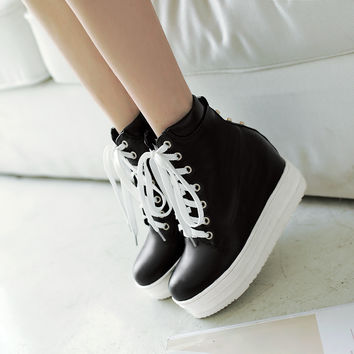 Lace Up Wedges Boots High Heels Women Shoes Fall|Winter 9988