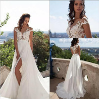 Beach 2017 Wedding Dresses A-Line Side Slit Elegant Lace Appliques Chiffon Plus Size Wedding Bridal Gowns Dress vestido de noiva