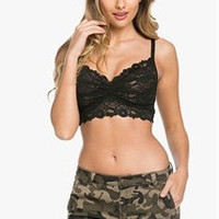 Lace Wide Bottom Band Bralette - Black, Ivory, Champage, Poppy, Charcoal, Blush or Teal