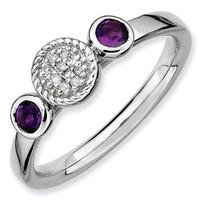 Amethyst and Diamond Cluster Stackable Ring 1/20ctw
