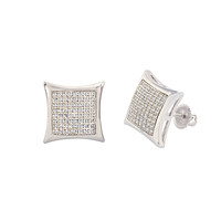 Sterling Silver Stud Screw Back Earrings Clear Pave Cubic CZ 14mm Kite Shaped