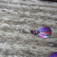 PURPLE Fishing Lure Blade Navel Belly Button Ring for the Country Fishing Girl