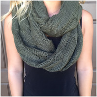 Cable Knit Thick Infinity Scarf - OLIVE - Cable Knit Thick Infinity Scarf - OLIVE