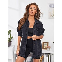 Flap Pockets Button Front Boyfriend Denim Jacket