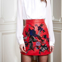 Embroidered Leather Flare Skirt