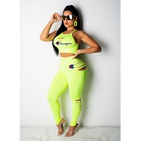 Champion Summer Fashion Women Sexy Print Sleeveless Top Pants Trousers Set Two-Piece Sportswear Fluorescent Green