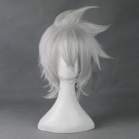 Hot sale Soul Eater Evans anime wigs synthetic off white,high temperature fiber kanekalon cabelo sintetico short cosplay wigs