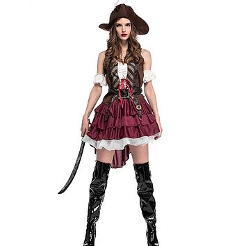 Adult Women Pirate Character Halloween Game Party Costume