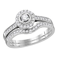 10kt White Gold Women's Round Diamond Halo Bridal Wedding Engagement Ring Band Set 1/3 Cttw - FREE Shipping (US/CAN)
