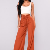Tina Lace Up Wide Pants - Brick