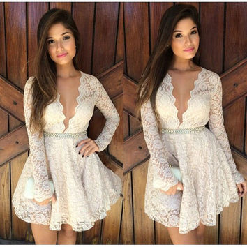 Fashion Sexy Women Long Sleeve Prom Ball Cocktail Party Dress Formal Evening Gown Gift Idea White  Trending