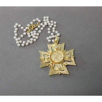 18K Yellow Gold Matte Natural Pearl Maltese Cross Necklace