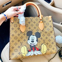 LV & Disney New fashion monogram mouse print leather shoulder bag handbag crossbody bag