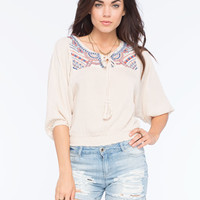 Flying Tomato Embroidered Yoke Womens Peasant Top Ivory  In Sizes
