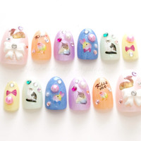 3D nails, fake nails, pastel, fairy kei nails, kawaii nails, cats, animal, bows, glitter, Japanese nail art