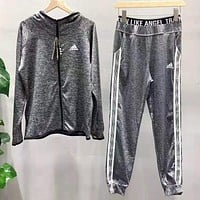 Adidas Fashion Women Casual Print Long Sleeve Sweater Coat Pants Sweatpants Set Two-Piece Sportswear Grey