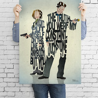 Mulder and Scully typography art print poster based on a quote from the TV show The X-Files
