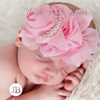 Cute Newborn Flower Headband Pearl Rose Flower Hair Accessories Stretchy HeadwearPhotographic props  w--075