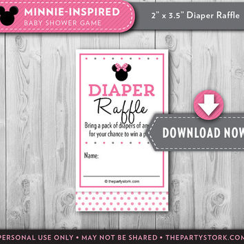 Minnie Mouse Baby Shower | Diaper Raffle Ticket | Pink Black | Printable Card Insert | Girl | Invitation Available INSTANT DOWNLOAD