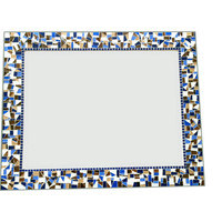 Brown, Navy Blue, and White Mosaic Mirror, Large Wall Decor