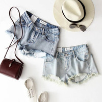 2016 Trending Fashion Summer Women Big Hole Ripped Destroyed Distressed Jeans Denim Shorts _ 9888