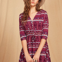 Aztec Print Drawstring Shirtwaist Dress