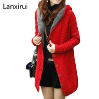 2018 New Winter Hooded Cardigan Cashmere Sweater Women Coat Thick Warm Sueter Mujer Long Sleeve Knitted Cardigans Female Poncho